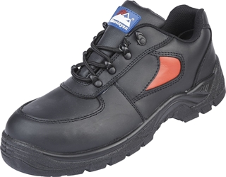 Himalayan Black/Red Leather Safety Trainer
