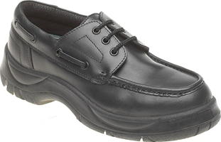 Himalayan Black Leather Wide Grip Safety Boat Shoe