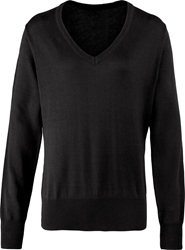Premier Workwear Ladies V Neck Knitted Sweater